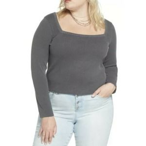BP. Square Neck Thermal Top Gray Plus Size 4X NWT